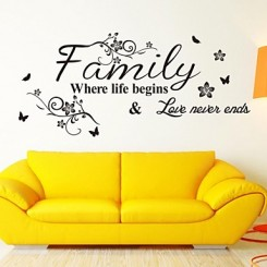 Family Where Life Begins Wall Sticker, Decal