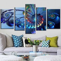 Set of 5 Abstract Blue Ferris Wheel - Canvas